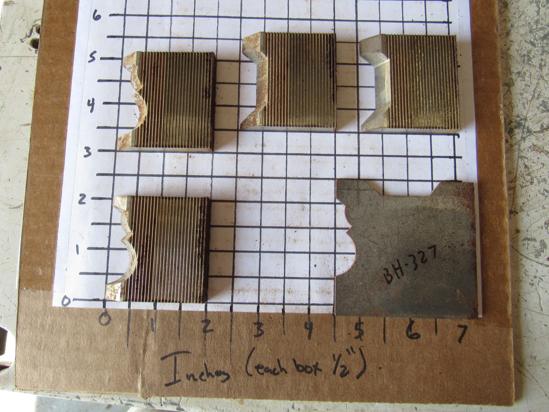 """Picture of 4 Moulder Blades Bits Knives 5/16"""" Corrugated Back Shaper Router Planer Molder Profile Blade Knife Bit Trim Base Crown Chair Rail"""