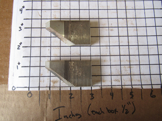 "Picture of Pair 52 Degree Moulder Blades Bits Knives 5/16"" Corrugated Back Shaper Router Planer Molder Profile Blade Knife Bit Trim Base Crown Chair Rail"
